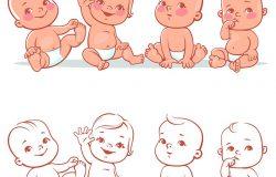 穿着尿布的可爱小宝宝坐在一起。快乐的孩子。女孩和男孩微笑着挥手。在白色背景上分离的矢量插图。