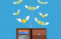 有翅膀的美元和硬币带着钱包飞离了手。亏本,超支,破产。平面图