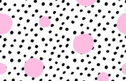 手绘无缝重复图案与圆形的粉红和黑色圆点纹理在白色背景。现代原创纺织包装纸墙面艺术设计。