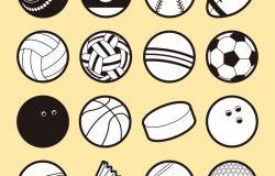 一组16个孤立的运动球图标,黑色和白色。外形风格的运动球符号。矢量图