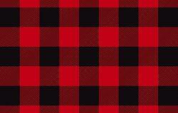 木材格子法兰绒图案矢量。无缝背景。黑色和红色。