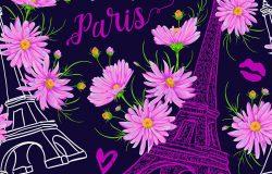 巴黎。经典的无缝图案埃菲尔铁塔亲吻心和粉红色洋甘菊花水彩画风格。复古手绘矢量图。(翻译:你好,巴黎,我爱你)