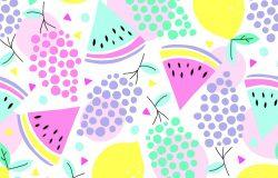 无缝夏季水果图案矢量图