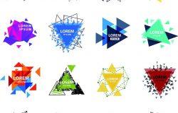 神圣几何三角形抽象标志图形元素神秘多边形创意三角矢量插图