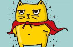 卡通向量卡配可爱英雄猫