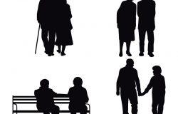 一例老年夫妇侧影的矢量图