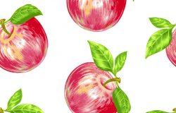 真实无缝的背景。红苹果。织物设计,纺织品,纸,壁纸,互联网。复古。花纹。手绘彩色铅笔。