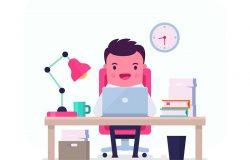 用有趣的文员画插图。关于商业和办公室雇员的矢量图。商人