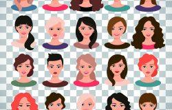女性化身设置矢量插图。透明背景下不同发型的美丽少女肖像画