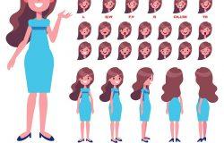 正面背面视图动画人物。长发女人在服饰创作中,以各种观点、发型、表情、姿势和手势为背景。卡通风格平面矢量图。