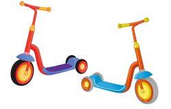两个可爱的彩色踢踏车。推滑板车孤立在白色背景。儿童的生态运输。矢量