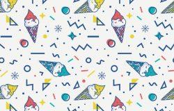 夏季无缝图案与冰淇淋和抽象几何形状孟菲斯风格。矢量图背景为白色、蓝色、黄色和红色。