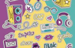 卡通风格的潮人拼贴。模板元素的文字,耳机,音乐和风格。