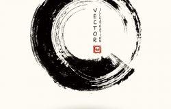 黑色墨水圆笔画在白色背景上。日本风格。粗圆染色的矢量图