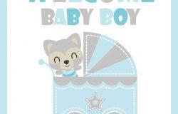可爱宝宝浣熊在婴儿车矢量卡通插画婴儿淋浴卡设计明信片和壁纸