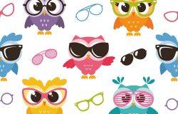 彩色猫头鹰眼镜无缝图案
