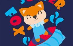 可爱的狐狸是冲浪矢量卡通插图的儿童t恤设计儿童托儿所墙和图形壁纸。