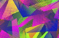 摘要无缝几何图案与城市元素磨损滴喷雾器三角霓虹灯喷漆。纹理背景。男孩女孩用的壁纸。创意原创重复背景
