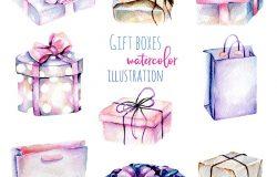 一套水彩画礼品盒,手绘于白色背景上。