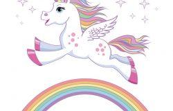 独角兽矢量插图魔术奇幻马设计儿童t恤和袋。孩子气的白色独角兽和彩虹毛