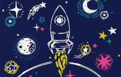 用素描星体、火箭、彗星和行星进行太空旅行的海报,可用于宇宙聚会或空间探索计划、矢量插图。