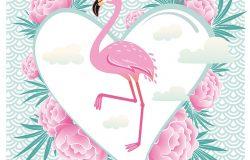 矢量图粉红色火烈鸟。凉快火烈鸟装饰平面设计元素。