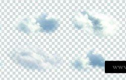 矢量集的真实感孤立云上的透明背景。
