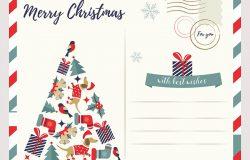 带圣诞夜的节日贺卡。