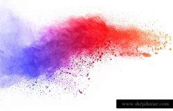 摘要粉末飞溅背景。白色背景上的彩色粉末爆炸。彩色云。五颜六色的尘埃爆炸。油漆Holi。