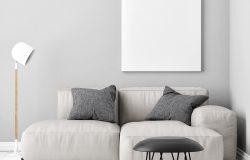 用舒适的沙发三维插图模拟海报