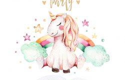 孤立可爱的水彩独角兽邀请卡。苗圃独角兽插图。独角兽公主海报。时髦的粉色卡通马。