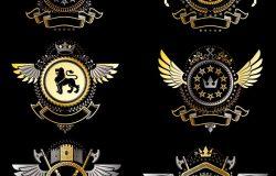 矢量优雅的纹章涂层的武器。收集的文胸风格的老式设计,并创造了图形元素,皇家王冠和旗帜,星星,塔,军械库,宗教十字架。