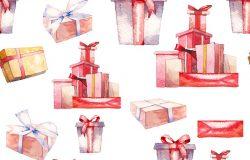 水彩画礼盒无缝图案。手绘重复纹理与问候礼物的白色背景。纸织物剪贴簿的表面设计