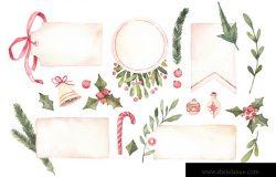 水彩插图装饰圣诞标签与花卉元素圣诞装饰铃铛。完美的邀请,贺卡,打印和更多。祝圣诞快乐,新年愉快