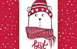 圣诞贺卡和有趣的熊。
