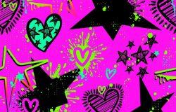 粉红背景上天衣无缝的星心图案,色彩鲜艳,喷漆油墨,涂鸦风格,适合女孩、童装、服装、壁纸等。五颜六色的重复背景