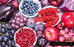 紫色和红色水果和蔬菜背景顶部视图。