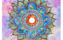 水彩抽象曼陀罗装饰与乌鸦和鹿在彩色背景上