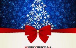 圣诞节和新年。带红色蝴蝶结和圣诞树的矢量贺卡