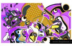 矢量彩色摘要壁纸背景。各种分形形状和布局组成。设计海报横幅和织物打印模板。
