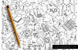手绘化学矢量涂鸦背景