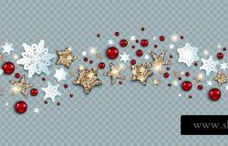 豪华装饰与星星,雪花和球,寒假请柬。模板圣诞浪潮的横幅广告传单,贺卡,问候,邀请等。