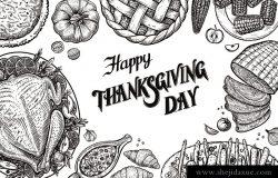 餐桌上的景色。模板与矢量插图的食品和书法传统感恩节菜单。火鸡蔬菜,蔓越莓酱,釉面胡萝卜,南瓜派,火腿和玉米