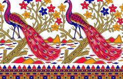 色彩斑斓的孔雀无缝边界