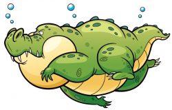 通鳄鱼游泳的矢量图