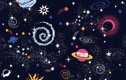 银河无缝花纹可用于纺织,瑜伽垫,手机外壳。