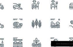 一套农业和农业线图标。包含这样的图标,收割机,卡车,拖拉机,农民和乡村农场建筑。可编辑的中风。48×48像素完美。