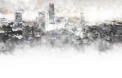 水彩画背景下的首都美楼。