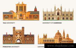最好的国立大学。耶鲁大学、牛津大学、剑桥大学和普林斯顿大学的平面建筑。矢量插图。
