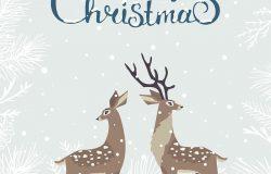 美丽可爱的卡通,两只风格化的鹿。卡通仙女鹿。神奇的寒假卡。
